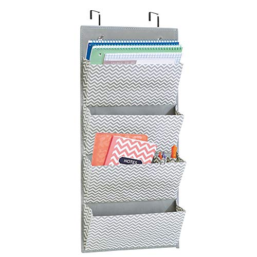 mDesign Wall Mount Over the Door Fabric Office Supplies Storage Organizer for Notebooks - Planners - File Folders - 4 Pockets - Gray Cream