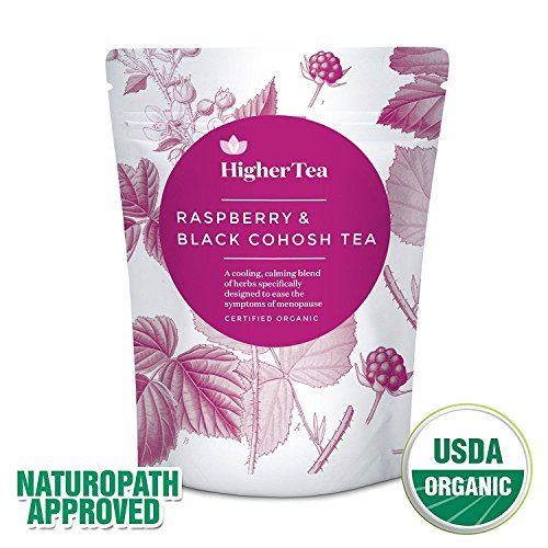 Raspberry and Black Cohosh Tea for menopause relief. Perfect Cooling support, calming tea formula for symptoms like hot flashes, sweats and tiredness. Natural alternative to Menopause Supplements by Higher Tea