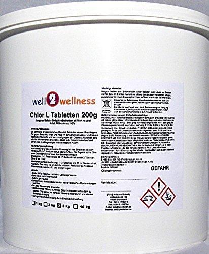 Chlor L Tabletten 200g - langsam lösliche Chlortabletten a 200g mit 90% Aktivchlor, 5,0 kg