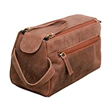 Leather Toiletry Bag Dopp Kit Shaving and Grooming Kit for Travel ~ Gift for Men Women ~ Hanging Zippered Makeup Bathroom Cosmetic Pouch Case