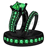 ArtLine Jewels 4.12 Ct Green Emerald Trio Wedding Ring His/Hers Band Set & 14K Black Gold Over Alloy