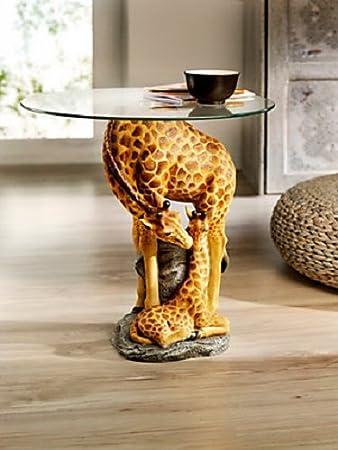 Beistelltisch Giraffe Couchtisch Statue Deko Blumenhocker Afrika Style  Glasplatte NEU