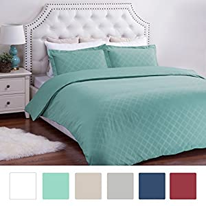 Duvet Cover Set with Zipper Closure-Aqua Diamond Pattern, Full/Queen (86