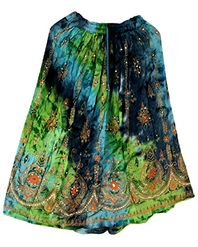 Femme colore Femmes Indian Boho Hippie Gypsy Sequin Summer Sundress Maxi Belly Dance Skirt 15