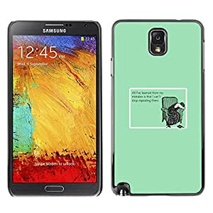Stuss Case / Funda Carcasa protectora - Learning Mistakes Stop Slogan Funny Quote - Samsung Note 3 N9000 N9002 N9005