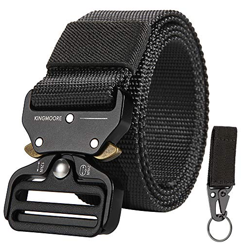 KingMoore Mens Tactical Belt, Military Style Webbing Riggers Web Gun Belt with Heavy-Duty Quick-Release Metal Buckle (Waist:36