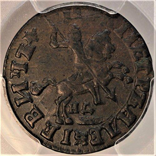 (RU (1713) Peter I, the Great, Russia Russian Coins Kopecks Coin 1 Kopek AU-53 PCGS)