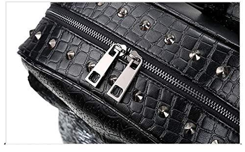 PU sac filles de cuir mode 3D cool de bandoulière Sac Black Close ordinateur portable adapté loup sac en tête les dos Mouth adolescentes Tq75xZa