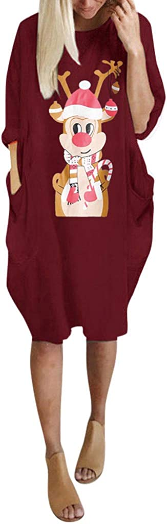 Vectry Damenmode Weihnachten Pullover Rundhals Langarm Shirts Weihnachten Rentier Print Tasche Casual Tops Lange Bluse Lose Freizeit Kleider