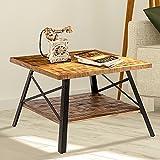 """Olee Sleep 24"""" Solid Wood & Dura Metal Legs End Table, Rustic Brown For Sale"""