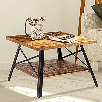 "Olee Sleep 24"" Solid Wood & Dura Metal Legs End Table, Rustic Brown - Natural pine wood Board and strong Steel legs for durability Fit for any room or yard Wood shelf at the bottom providing convenient storage remote controls, books, magazines, etc. - living-room-furniture, living-room, end-tables - 51i7HvpdqvL. SS400  -"