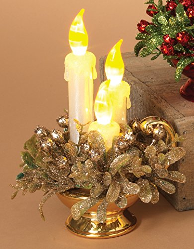 Lighted Flameless Candle Trios with Floral Accent Bases - Tabletop Holiday Decoration (Glow Accent)