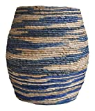 """Abaca Drum Stool Blue Dimensions: 16""""W x 16""""D x 18""""H Weight: 15 lbs"""