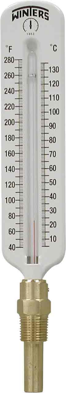 Winters TSW172LF Lead free Well Hot Water Thermometer, 1/2'' NPT, 40 to 280 degrees F, ±1% accuracy