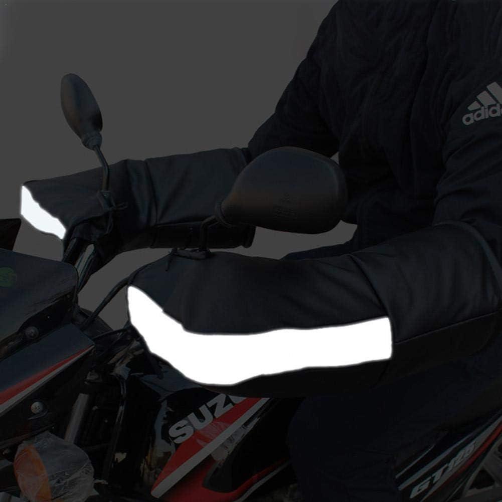 Double Port excelente Scooters Banda Reflectante Manoplas para Moto Doble Sellado Impermeable no Pelusa para la mayor/ía de Las Motos Motto.h Poliuretano Grueso Cortavientos