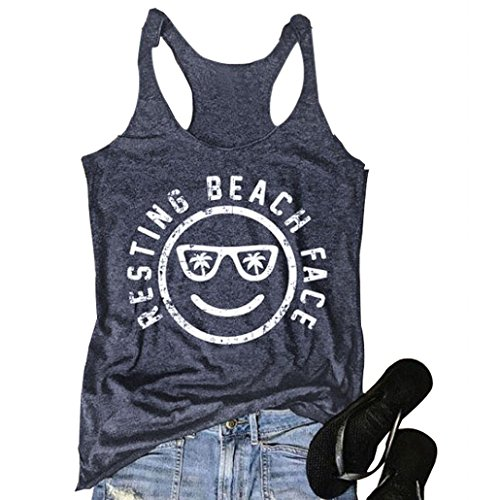 MCCKLE Women's Funny Graphic Tees Sleeveless Racerback Letters Print Tank Top T-Shirt Navy Blue M