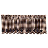 VHC Brands Classic Country Primitive Kitchen Window Curtains-Star Blue Scalloped Valance, Navy