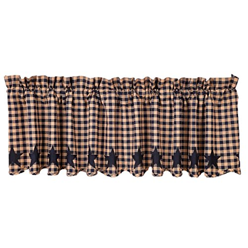 VHC Brands Classic Country Primitive Kitchen Window Curtains-Star Blue Scalloped Valance, Navy by VHC Brands (Image #1)