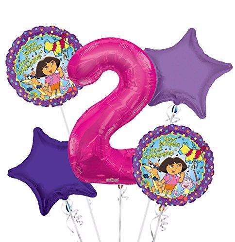 Explorer 2 Balloons - Dora the Explorer Balloon Bouquet 2nd Birthday 5 pcs - Party Supplies