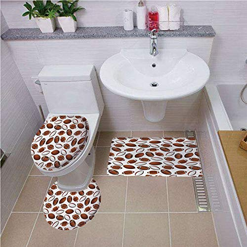Bath mat set Round-Shaped Toilet Mat Area Rug Toilet Lid Covers 3PCS,American Football,Classic Design Rugby Balls in Cartoon Style Sports Competition,Caramel Ruby White ,Bath mat set Round-Shaped Toil ()