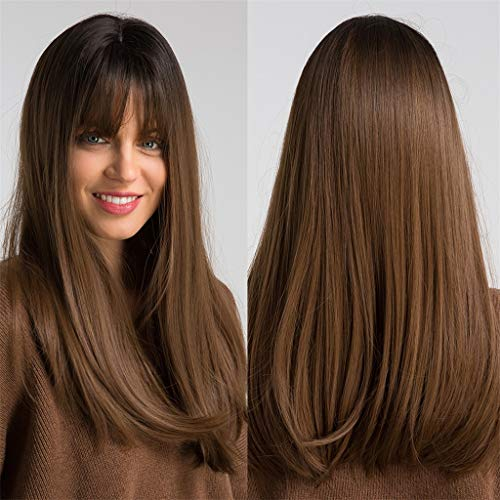 Brown Women Hair Wig Long Straight for Anime Cosplay Halloween Party Costume (a) -