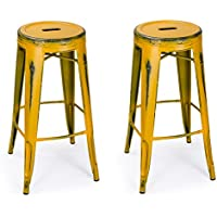 Homebeez 30 Inch Vintage Metal Counter Stools Yellow Industrial Round Barstools Rustic,set of 2 (Antique Yellow)