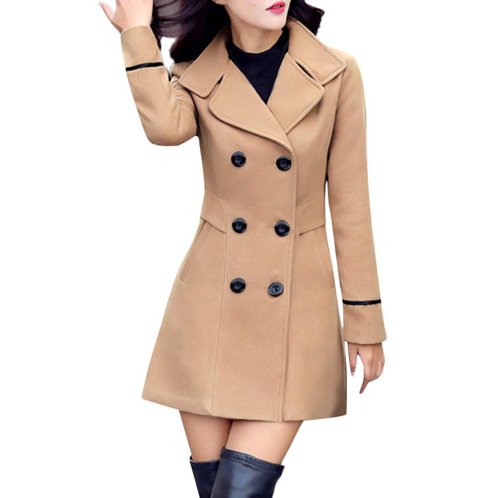Funnygals - Women's Overcoat, Winter Double-Breasted Stand Collar Lapel Button Pea Coat Slim Trench Coat Uniform Dress Khaki by Funnygals - Clothing