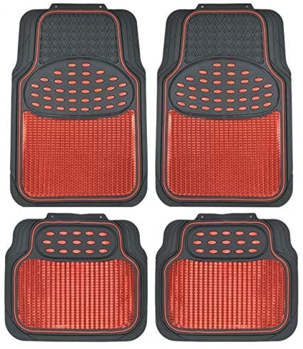 BDK MT614RDAMw1 Metallic Rubber Floor Mats for Car SUV & Truck – Semi Trimmable, 2 Tone Color Heavy Duty Protection(Red/Black)