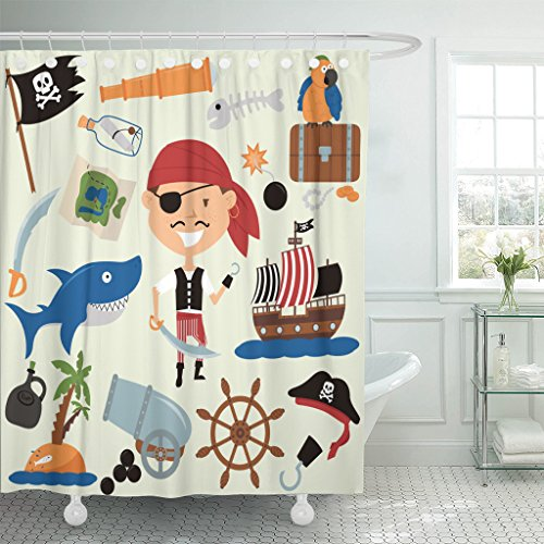 VaryHome Shower Curtain Cute Boy in Pirate Costume and Various Objects with Parrots Teen Shark Adventure Collection Waterproof Polyester Fabric 72 x 72 inches Set with (Cheap Captain Hook Costume)