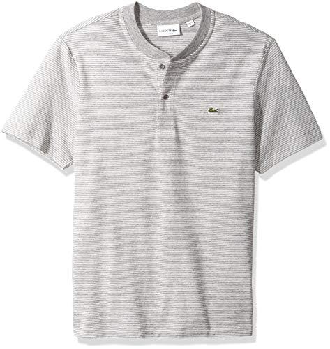 Lacoste Men's Short Sleeve REG FIT FINE Stripe Henley, PLUVIER Chine/Flour, (Lacoste Cotton Henley)