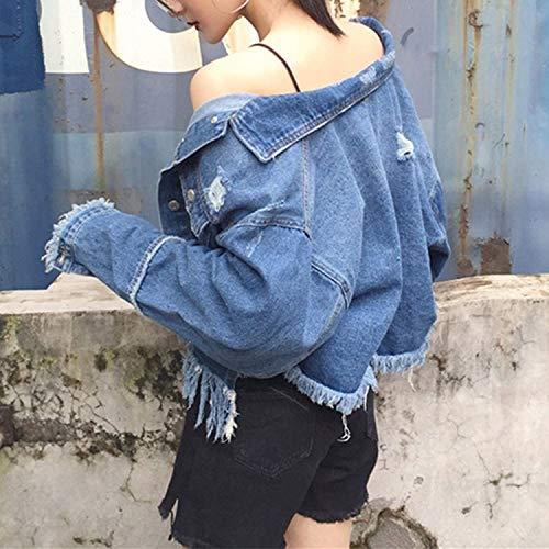 Cazadoras Borlas Vaqueras Bolsillos Manga Elegantes Casuales Ropa Sólido Fashion Con Larga Botonadura Azul Abrigo Adelina Jacket Mujer Outerwear Color Jeans Abrigos Solapa De Chic Denim a1dnAqw