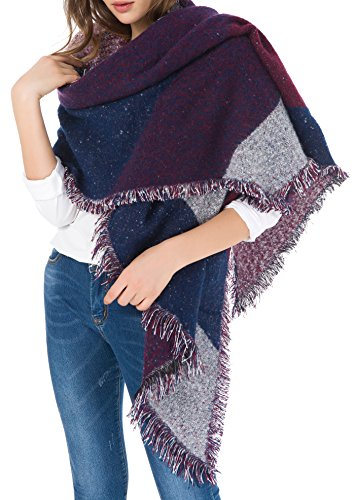Jusfitsu Women's Fashion Warm Wool Cashmere Bevel Tassels Scarf Wrap Shawl Purple