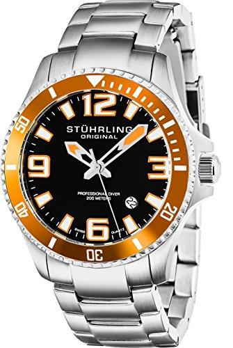 Stuhrling Original Men's 395.33I117 Aquadiver Regatta Champion Analog Swiss Quartz Silver Stainless Steel Link Bracelet ()