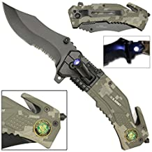 Spring Assist LED Tactical Rescue Knife US Army Camo