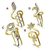 Fingernails Ring,Nail Art Charms Women's Retro Fashion Protecting Fingernail Nail Decoration Tip Nail Finger Ring Cute Nail(4 pieces Combination) (Gold)
