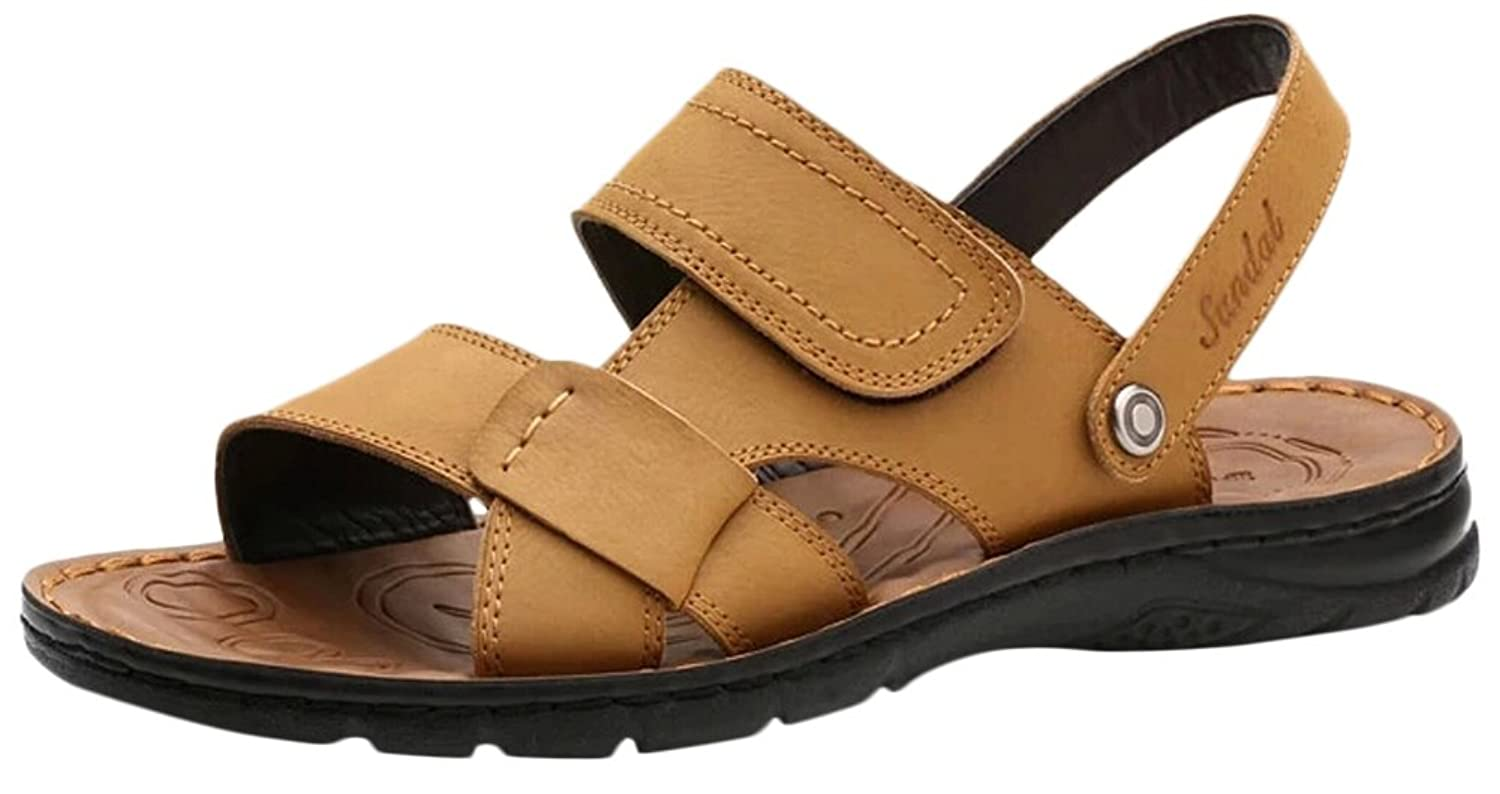 Ace Men's Summer Casual Fashion Soft Real Leather Open-toe Sandals Slippers