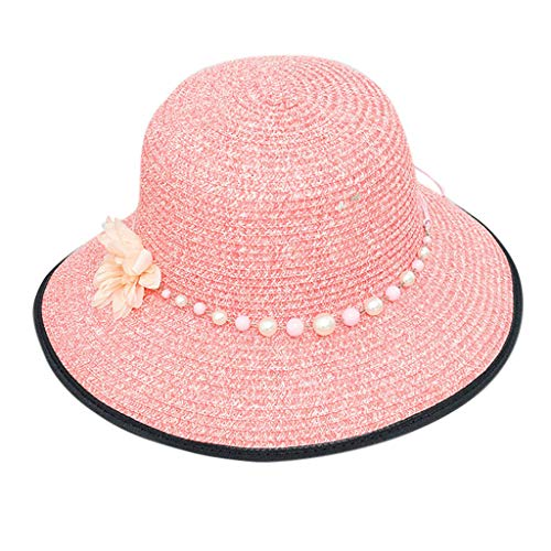 hositor Sun Hats for Women, Ladies Casual Wide Brimmed Floppy Foldable Straw Beach Hat Hot Pink
