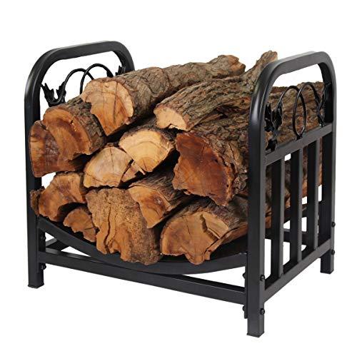PATIO WATCHER Firewood Rack Log Bin Firewood Storage Holder for Indoor Outdoor Backyard Fireplace Heavy Duty Steel Black