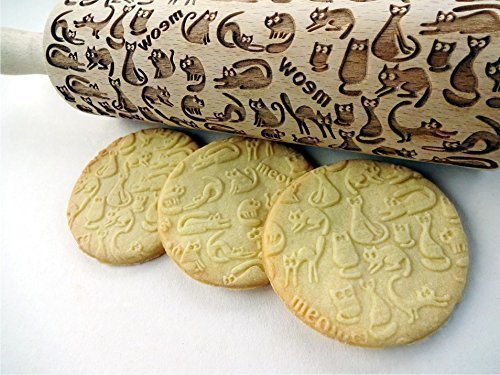 Embossing rolling pin Meow CATS. Wooden embossing rolling pin with cats. Wooden rolling pin for embossed cookies. Kitty