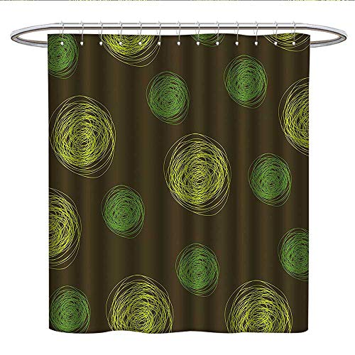 Anshesix FunnyPattern Shower curtainRound Doodles Spots in Green Tones Spirals Swirled Big Funky Dots PatternFabric Shower curtainChocolate Lime ()