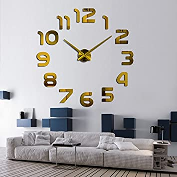 Modern clock watch Wall Stickers clocks reloj de pared home decoration horloge Needle Quartz