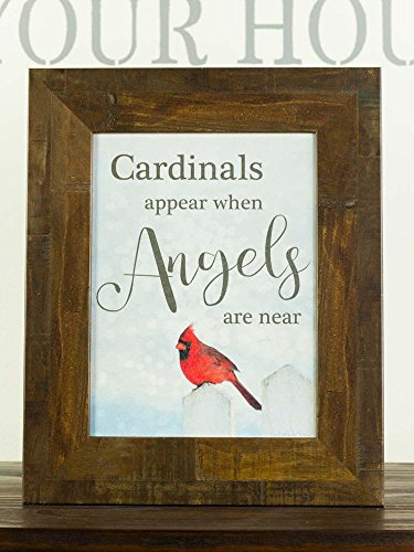 """Cardinals Appear When Angels Are Near Sympathy Red Cardinal Religious Framed Art Decor 13x16"""" (Restoration Brown)"""