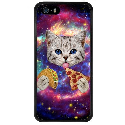 Memoly Shop Case Pizza Pattern iPhone SE Case Black TPU and Plastic Shock-Proof Protective Case Cover