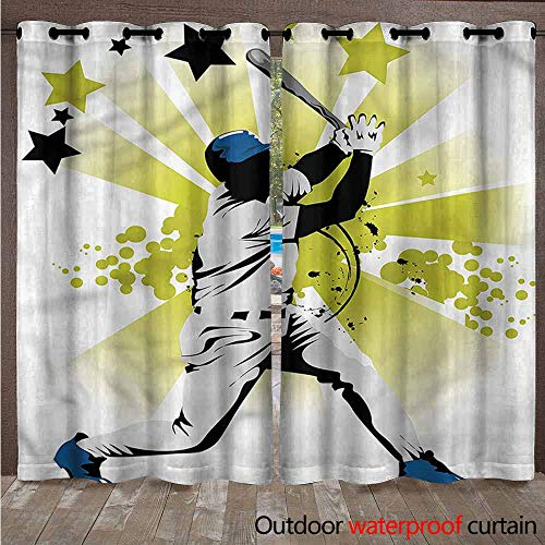 BDDLS Outdoor Curtains, Privacy Drapes for Patio/Pavilion, Prevent Light Glare/Easy to Dry for Outdoor Deck, 2 Pair, W72x96L,Multi