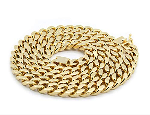 (Gold Cuban Link Chain Necklace Men Real 10MM 14K Karat Diamond Cut Heavy w Solid Thick Clasp US Made (28))