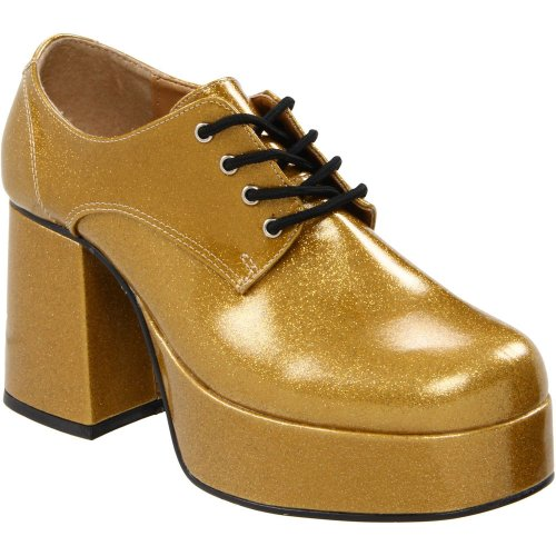 Shoes Mens Disco Gold (Ruanyi Women's Front Lace Up Glitter Disco Platform Punk Shoes Block Heel Ankle Pumps ( Color : Pearlized Gold Gltr , Size : S ))