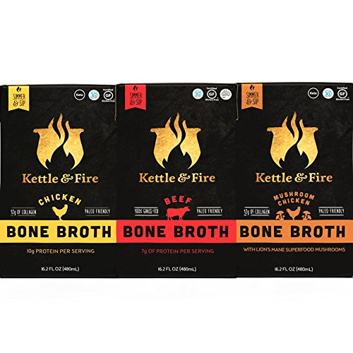 Bone Broth - Collagen & Gelatin Rich Bonebroth for Ketogenic Diet or Paleo Snack w Lion's Mane & 10g Protein. Gluten Free. Keto. Gut & Digestive Friendly Nutrition from Ancient Source (3-Sample Pack