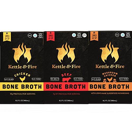 Bone Broth - Collagen & Gelatin Rich Bonebroth for Ketogenic Diet or Paleo Snack w Lion's Mane & 10g Protein. Gluten Free. Keto. Gut & Digestive Friendly Nutrition from Ancient Source (3-Sample Pack