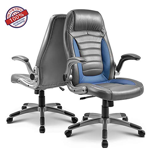 MIERES Pu Home Office Chair Desk Ergonomic Swivel Executive Adjustable Task Computer High Back with Lift arms-Blue, Black