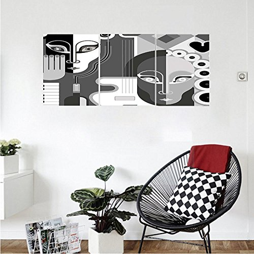 Liguo88 Custom canvas Abstract Decor Women Themed Jazz Piano Guitar Heart and Circle Detailed Image Wall Hanging for Bedroom Living Room Grey Black and White (Piano Gloss Tv Stand Finish)